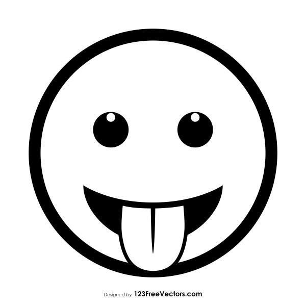 Face with Tongue Emoji Vector Free