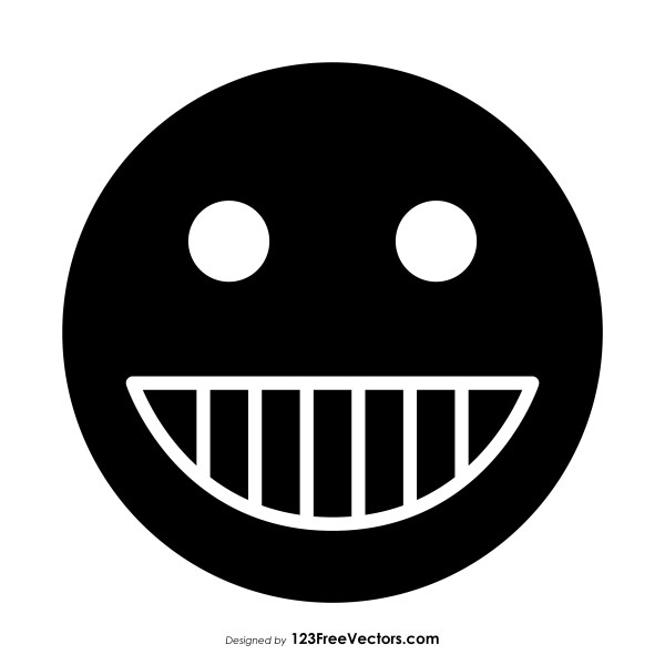 Black Grinning Face with Smiling Eyes Emoji Clipart