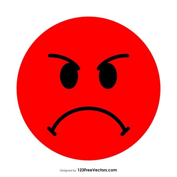 Flat Pouting Face Emoji