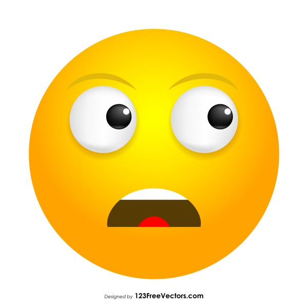 Frowning Face with Open Mouth Emoji Icons Vector