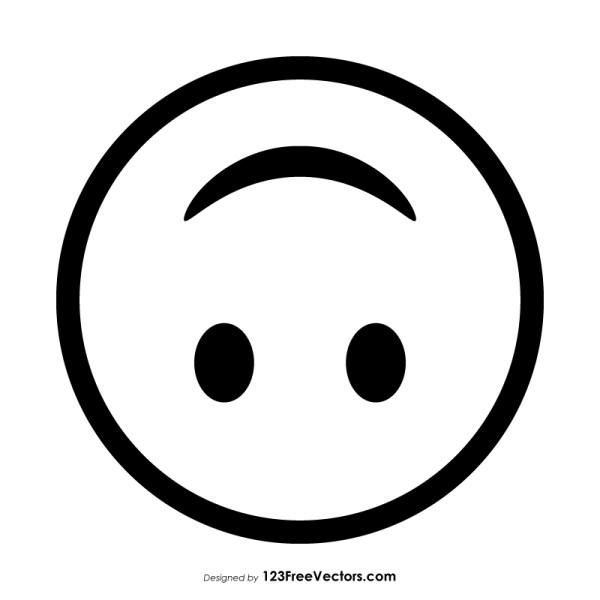 Upside-Down Face Emoji Outline Clipart