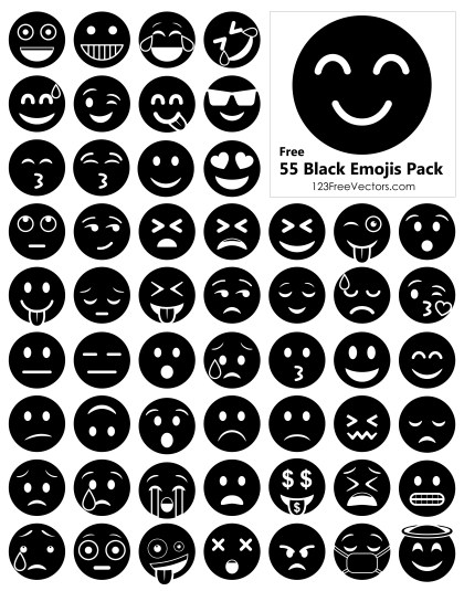 Black Emojis Free Vector Pack