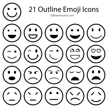 Outline Emoticons Free Vector Pack