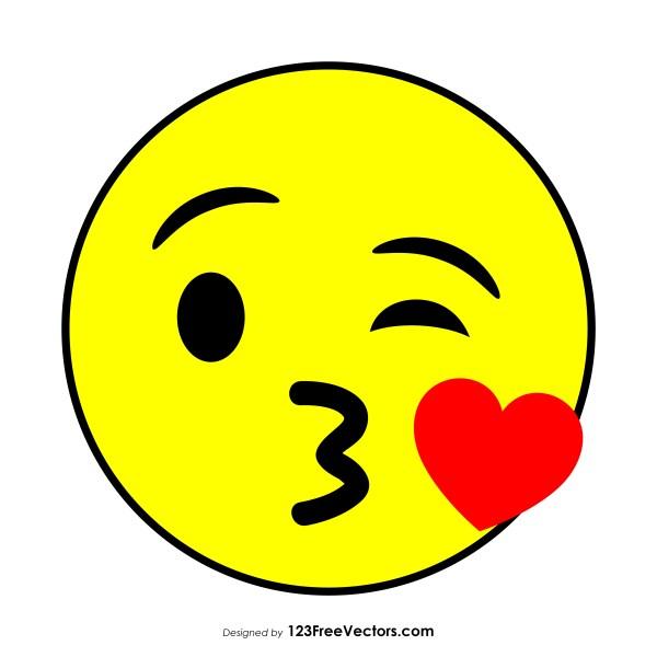 Flat Face Blowing a Kiss Emoji