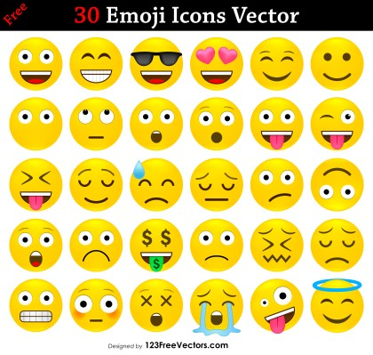 Free Emoji Icons Vector Pack