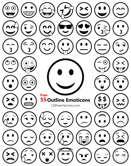 Outline Emoji Icons Free Pack