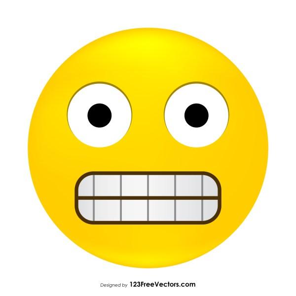 Grimacing Face Emoji Icons Vector