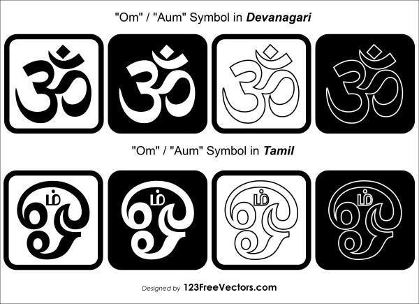 Devanagari and Tamil Om, Aum Symbols Clip Art