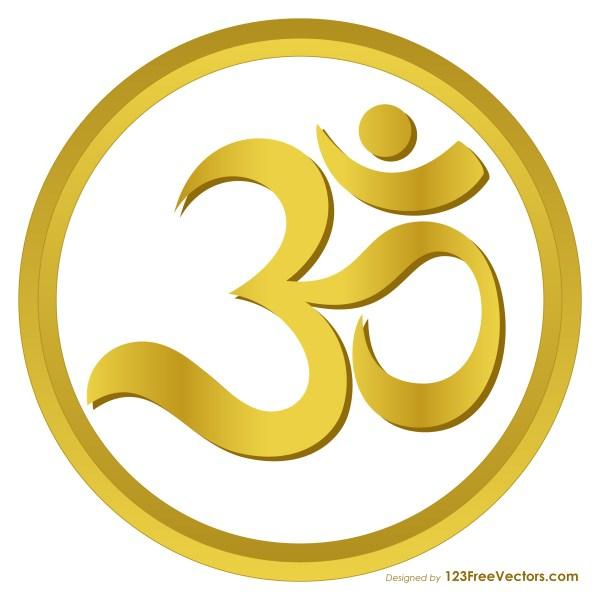 Gold Aum or Om Symbol Image