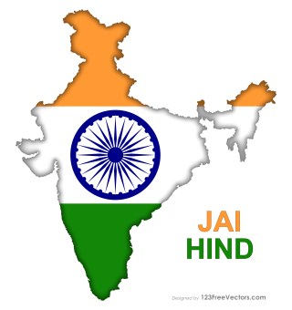 India Flag Map Free Vector Image