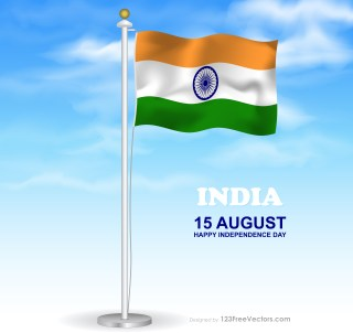 Flying Indian Flag on Flagpole in Cloudy Blue Sky Background