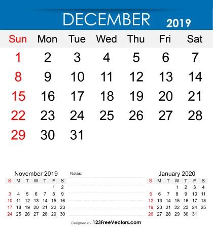 Free Printable December 2019 Calendar