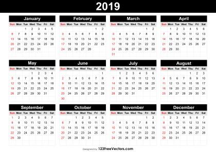 Editable Calendar 2019