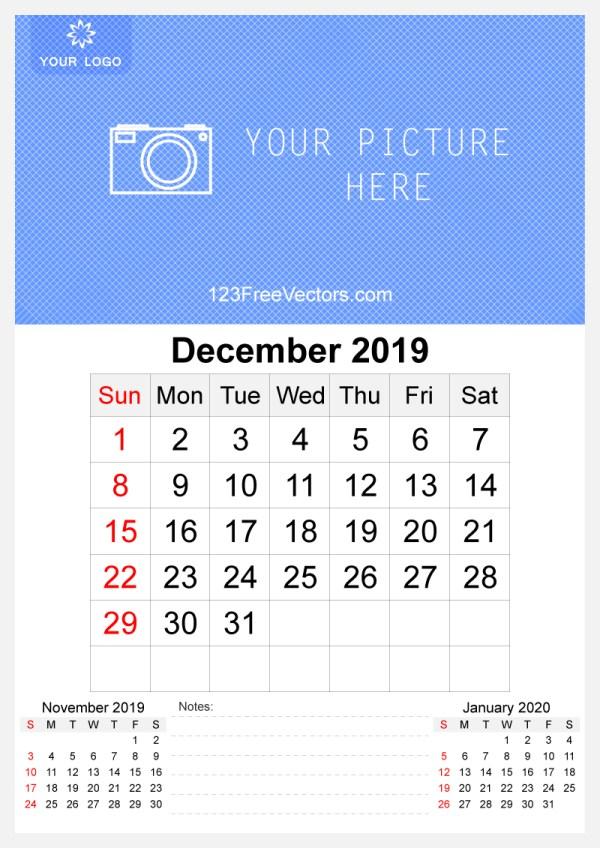 2019 December Wall Calendar Template Free