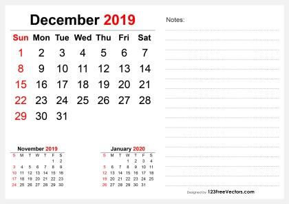 2019 December Desk Calendar Design