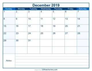 Blank Printable December Calendar 2019
