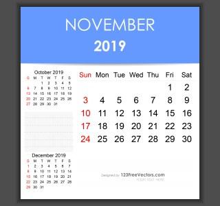 Editable November 2019 Calendar Template