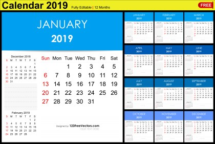 Editable Monthly Calendar Template 2019