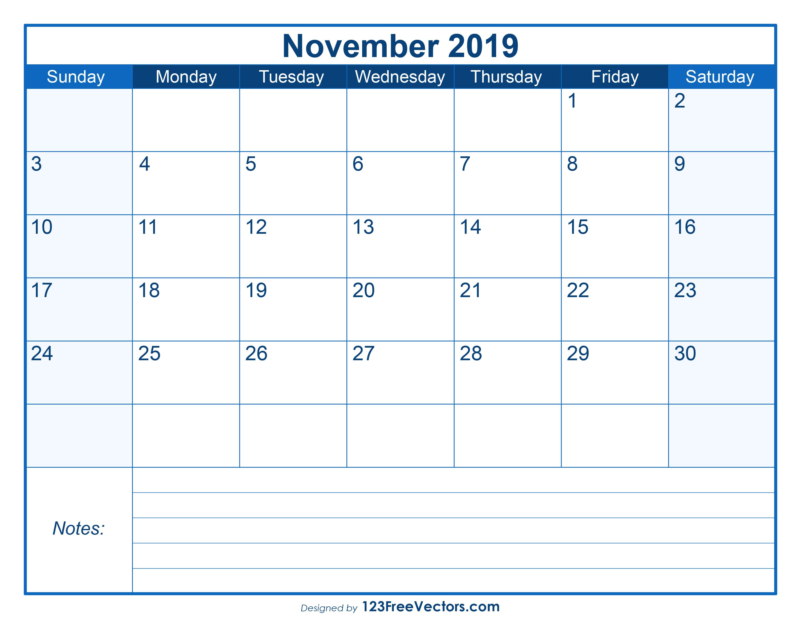 photo relating to Blank November Calendar Printable called Blank Printable November Calendar 2019