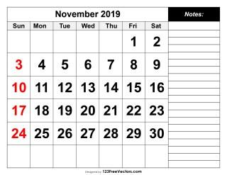 November 2019 Printable Calendar