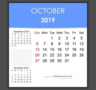 Editable October 2019 Calendar Template