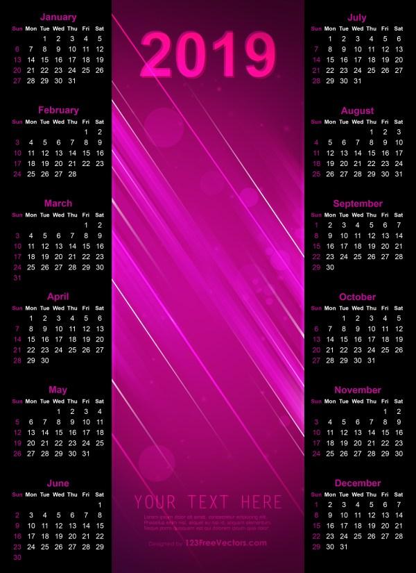 Calendar 2019 Template Ai