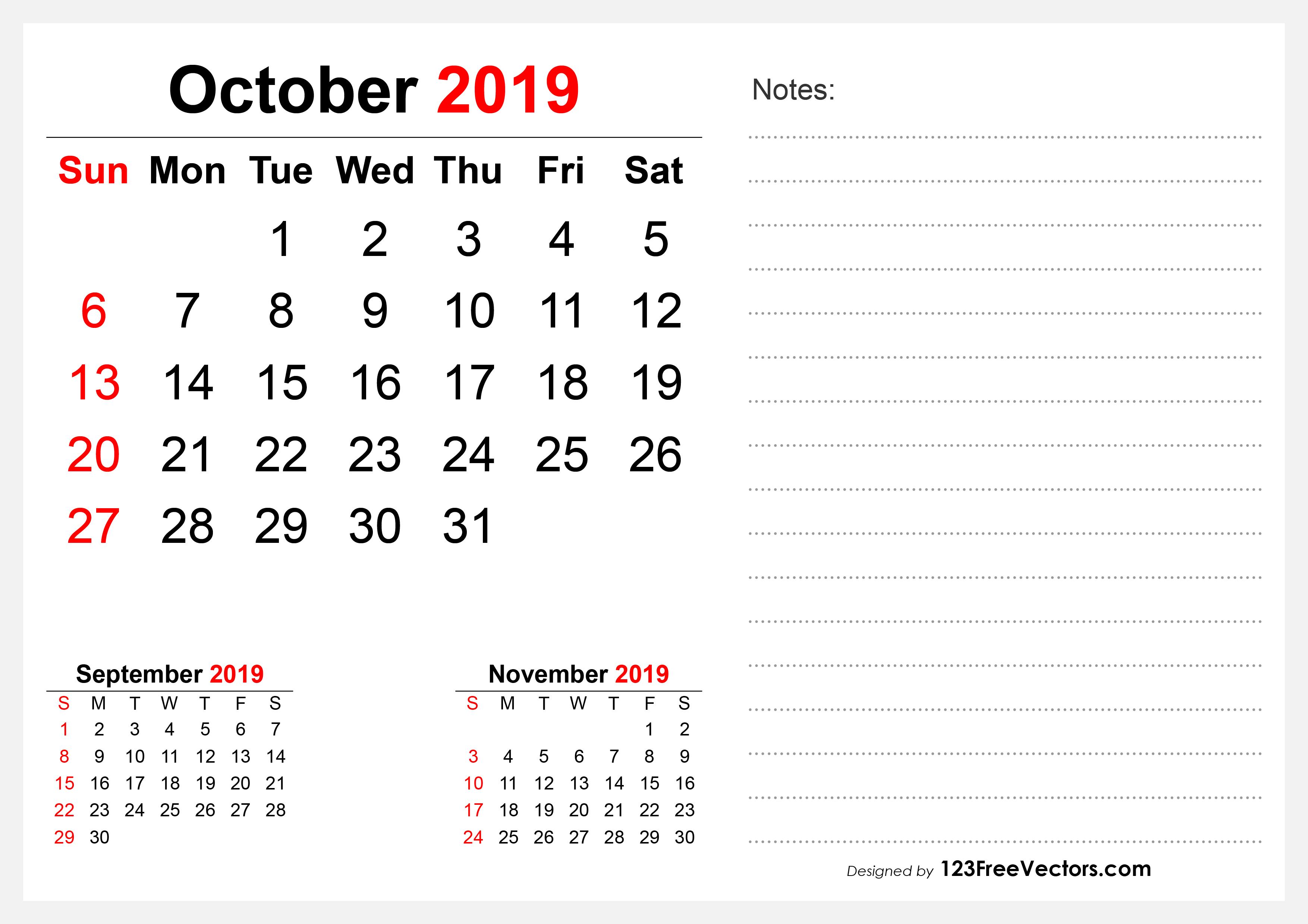 20 October Calendar Template Vectors Download Free Vector