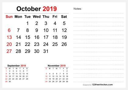 2019 October Desk Calendar Design