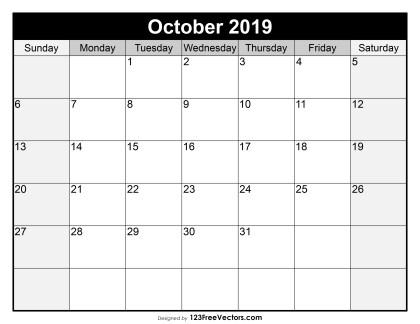 Blank October Calendar 2019