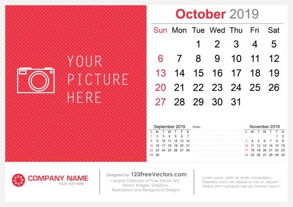 October 2019 Desk Calendar