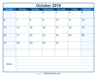 Blank Printable October Calendar 2019