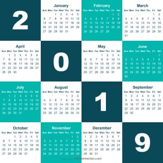 2019 Calendar Eps