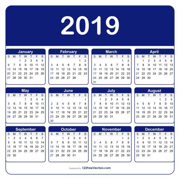 Adobe Illustrator Calendar Template 2019