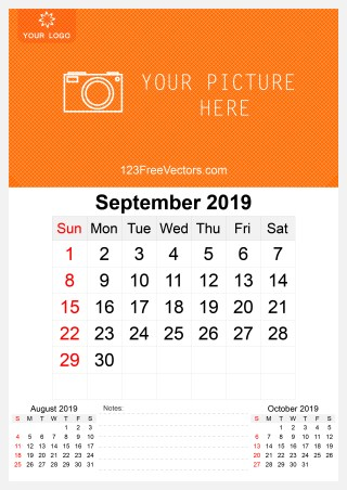 2019 September Wall Calendar Template Free
