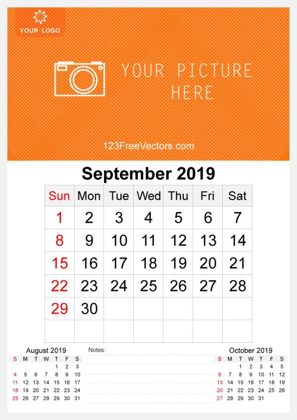 2019 September Wall Calendar Template Free