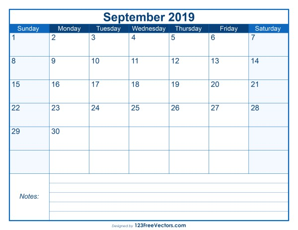 Blank Printable September Calendar 2019