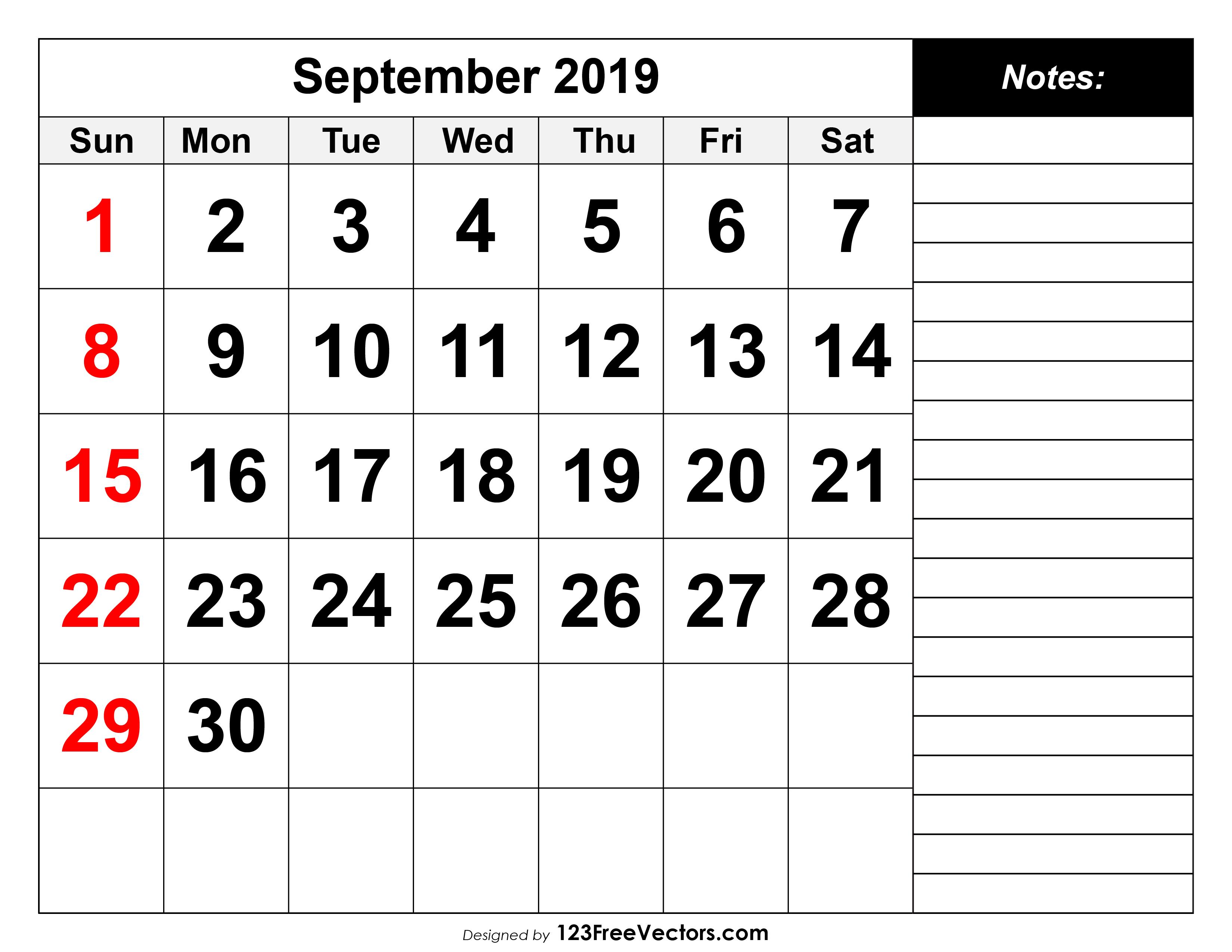 photo regarding September Printable Calendar identified as September 2019 Printable Calendar