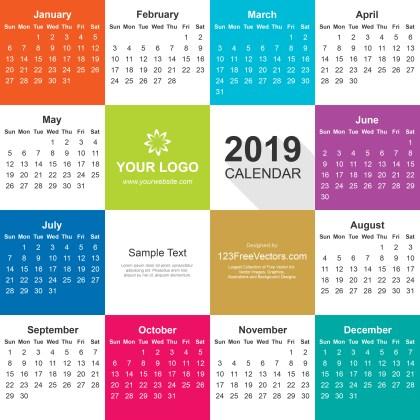 2019 Calendar Illustrator File