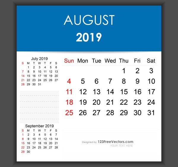 july aug 2019 calendar