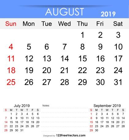 Free Printable August 2019 Calendar