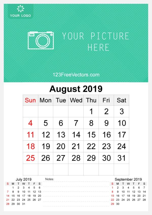 2019 August Wall Calendar Template Free