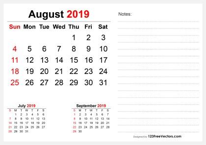 2019 August Desk Calendar Design