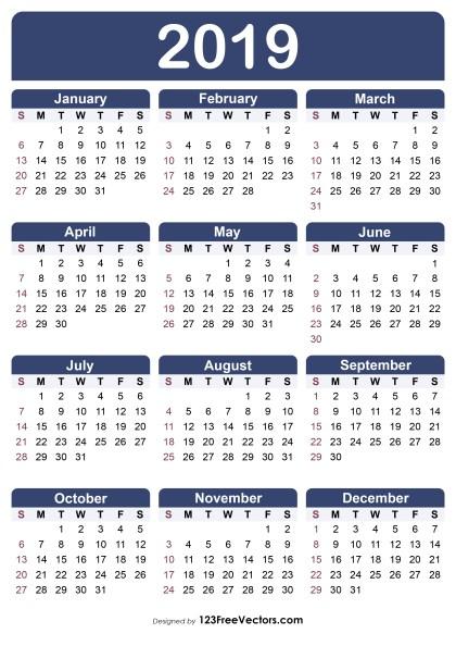 Free Printable Calendar 2019