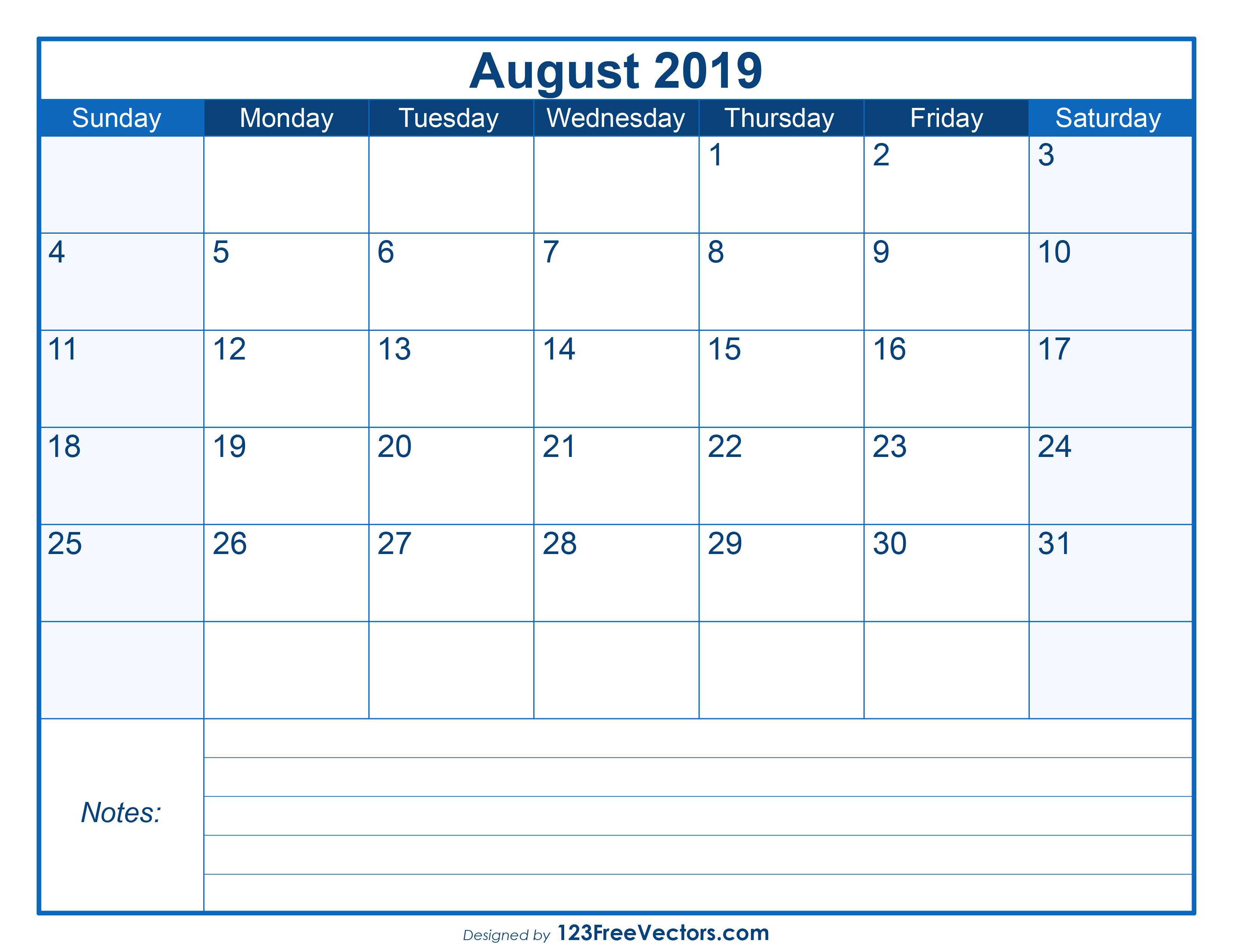 photograph relating to Free Printable August Calendar identified as Blank Printable August Calendar 2019