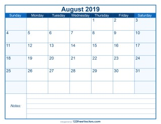 Blank Printable August Calendar 2019