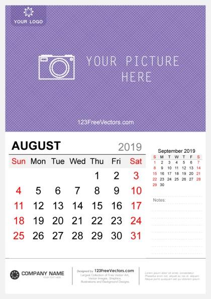 Wall Calendar August 2019