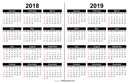 2018 and 2019 Calendar