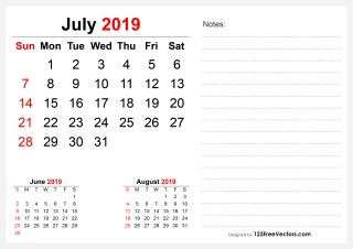 2019 July Desk Calendar Design