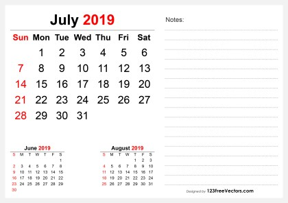 2019 July Desk Calendar Design