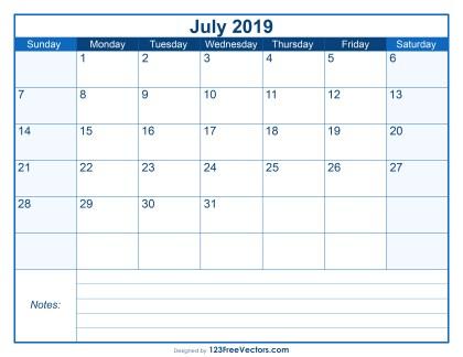 Blank Printable July Calendar 2019